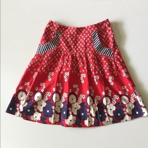 H&M Red & Blue Floral Print Full Skirt Size 8